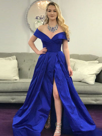 Royal Blue Prom Dress A-line Off-the-shoulder Simple Cheap Satin Prom Dresses/Evening Dress AMY884