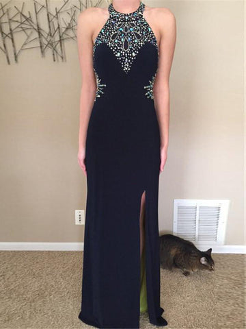 Sheath/Column Prom Dress Black Scoop Chiffon Beading Cheap Long Prom Dresses/Evening Dress AMY886