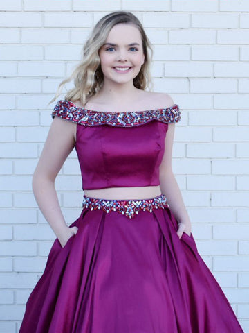 Two Pieces Prom Dress A-line Off-the-shoudler Grape Beading Long Prom Dresses/Evening Dress AMY888