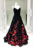 Black Prom Dress Aline Spaghetti Straps Floral Lace Long Prom Dresses/Evening Dress AMY897