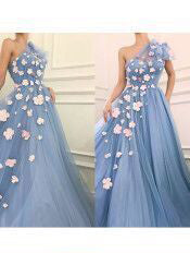 One Shoulder Prom Dress A line Applique Light Blue Tulle Long Prom Dresses/Evening Dress AMY903