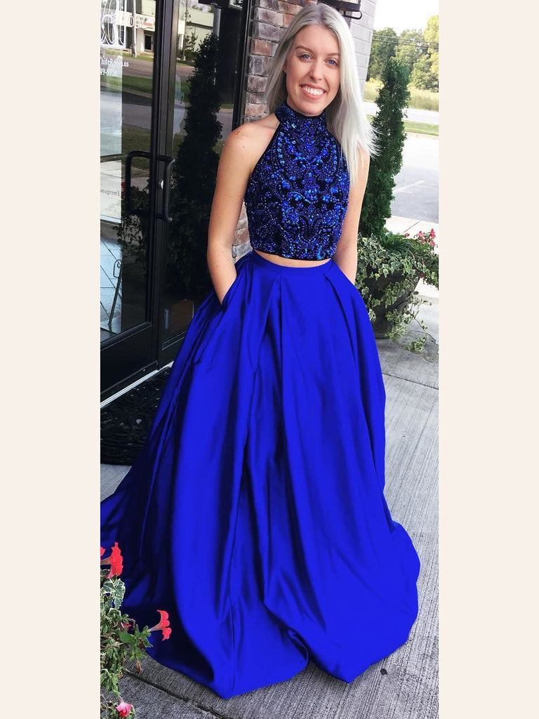 d39c26ffce7 Two Pieces Prom Dress Royal Blue A-line High Neck Beading Long Prom Dresses