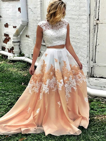 Two Pieces Prom Dress A line Floral White Lace Modest Long Prom Dresses/Evening Dress AMY906