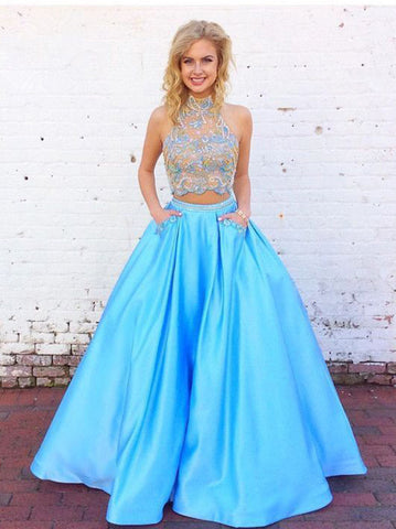 Two Pieces Prom Dress With Beading A line High Neck Blue Long Prom Dresses/Evening Dress AMY907