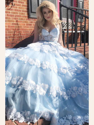 Light Sky Blue Prom Dress A-line Straps Lace Tulle Long Prom Dresses/Evening Dress AMY910