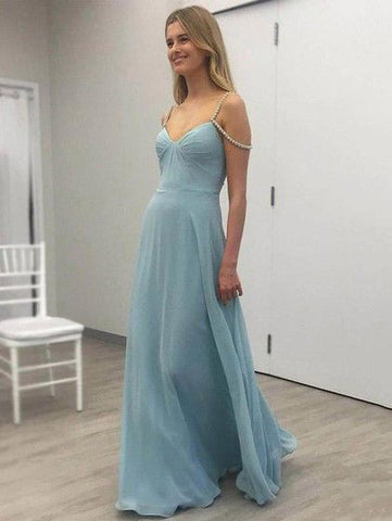 2018 Prom Dress A-line Chiffon Blue Beading Modest Long Prom Dresses/Evening Dress AMY913