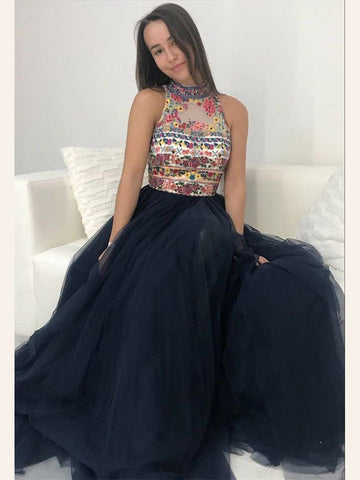 Dark Navy Prom Dress A line High Neck Floral Beaded Long Prom Dresses/Evening Dress AMY916