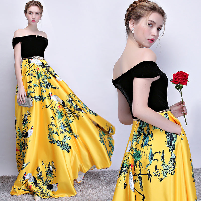 6d5fac73cf4 ... Off-the-shoulder Prom Dress A-line Yesllow Floral Satin Long Prom  Dresses ...