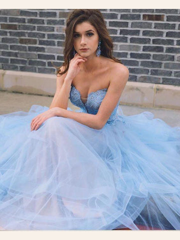 Light Sky Blue Prom Dresses A-line Sweetheart Lace Beading Modest Long Prom Dresses/Evening Dress AMY920