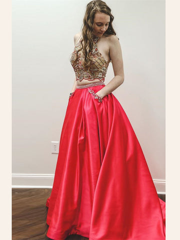 Two Pieces Prom Dresses A-line High Neck Beading Modest Long Prom Dresses/Evening Dress AMY921