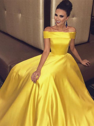 Simple Prom Dresses Yellow A-line Off-the-shoulder Cheap Long Prom Dresses/Evening Dress AMY922
