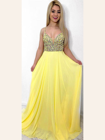 A-line Prom Dresses Yellow A-line Spaghetti Straps Beading Long Prom Dresses/Evening Dress AMY923