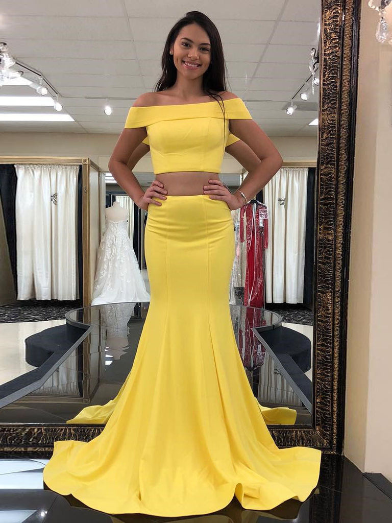 53a370a53e Two Pieces Prom Dresses Yellow Mermaid Off-the-shoulder Simple Long Prom  Dresses Evening Dress AMY924