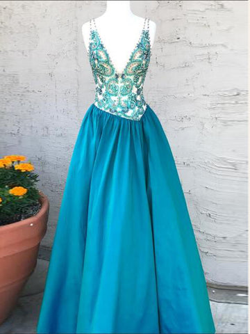 Modest Prom Dresses A-line Blue V neck Beading Cheap Long Prom Dresses/Evening Dress AMY926