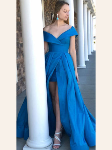 Off-the-shoulder Prom Dresses A-line Blue Simple Cheap Long Prom Dresses/Evening Dress AMY929