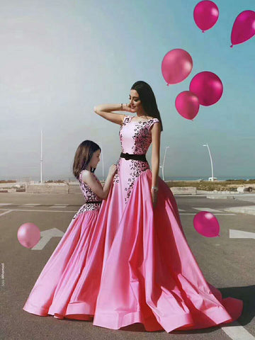 Pink A line Prom Dress Scoop Cheap Modest Long Prom Dresses/Evening Dress AMY930