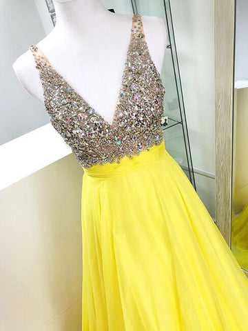 2018 Prom Dress A-line Yellow V necke Beading Chiffon Long Prom Dresses/Evening Dress AMY934