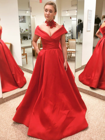 2018 Prom Dress A-line Red Off-the-shoulder Simple Satin Long Prom Dresses/Evening Dress AMY935