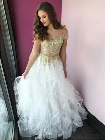 Two Pieces Prom Dress A-line Off-the-shoulder Gold Lace Cheap Long Prom Dresses/Evening Dress AMY939