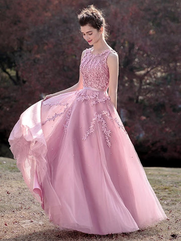 2018 Prom Dress A-line Scoop Applique Pink Tulle Long Prom Dresses/Evening Dress AMY941