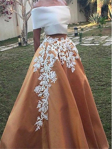 Two Pieces Prom Dress A-line Off-the-shoudler Applique Cheap Long Prom Dresses/Evening Dress AMY942