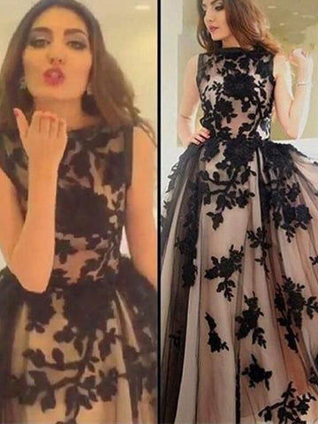 2018 Prom Dress A-line Bateau Applique Black Tulle Long Prom Dresses/Evening Dress AMY943