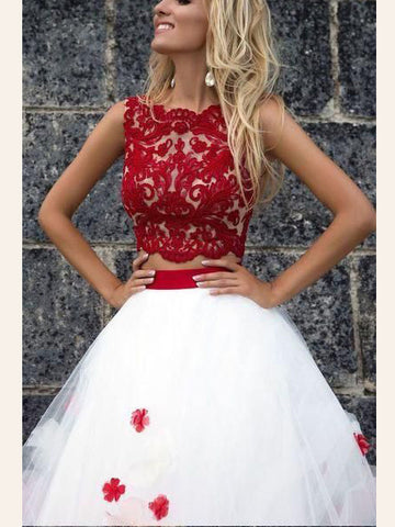 Two Pieces Prom Dress Red A-line Scoop Applique Modest Long Prom Dresses/Evening Dress AMY948