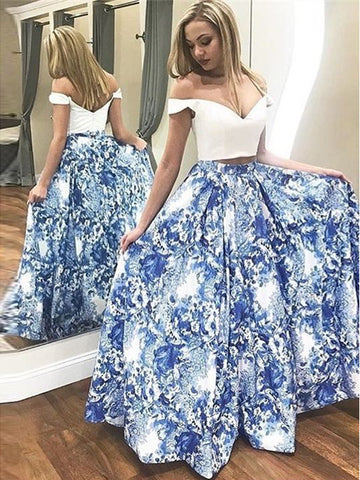 Two Pieces Prom Dress A-line Off-the-shoulder Floral Elegant Long Prom Dresses/Evening Dress AMY951