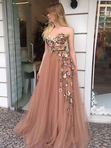Beautiful Prom Dress A-line Sweetheart Applique Elegant Long Prom Dresses/Evening Dress AMY959