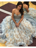Beautiful Prom Dress A-line Sweetheart Floral Elegant Long Prom Dresses/Evening Dress AMY965