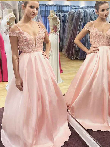 Pink Prom Dress A-line Straps Beading Elegant Long Prom Dresses/Evening Dress AMY966