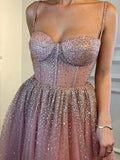Spaghetti Straps Prom Dress A-line Rhinestone Pink Modest Long Prom Dresses/Evening Dress AMY968