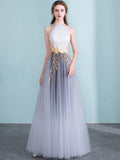 2018 Prom Dress A-line Halter Ombre Tulle Elegant Long Prom Dresses/Evening Dress AMY971