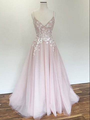 Spaghetti Straps Prom Dress A-line Pink Applique Modest Long Prom Dresses/Evening Dress AMY972