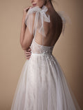 Beautiful Spaghetti Straps Wedding Dress Lace Tulle Long Prom Dresses Evening Dress AMY973