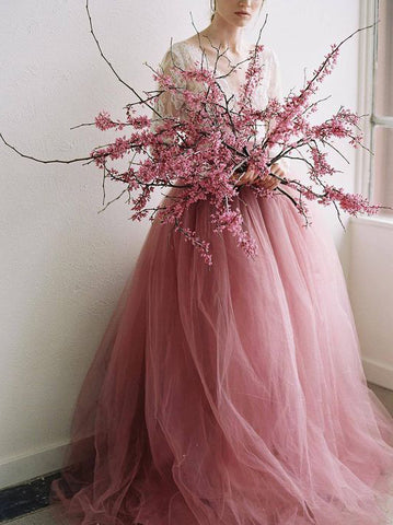 Beautiful V neck Wedding Dress Pink Long Sleeve Lace Tulle Long Prom Dresses Evening Dress AMY975