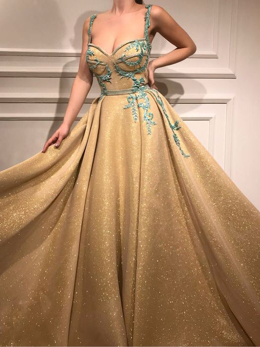 Beautiful Gold Prom Dress A-line Straps Long Prom Dresses Rhinestone Sparkly Evening Dress AMY978