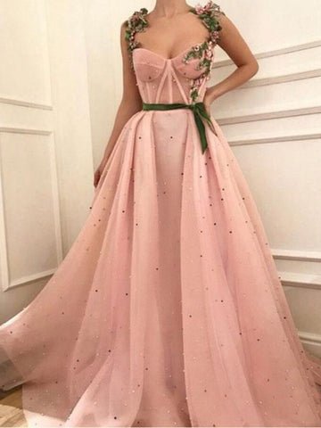 Pink Prom Dress A-line Straps Floral Tulle Elegant Long Prom Dresses/Evening Dress AMY979