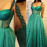 2018 Prom Dress A-line Straps Sparkly Sleeveless Elegant Long Prom Dresses/Evening Dress AMY980