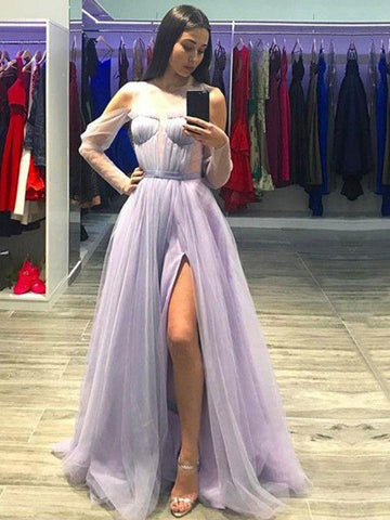 Lilac Prom Dress A-line Scoop Simple Cheap Tulle Prom Dresses Long Elegant Evening Dress AMY984