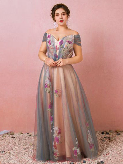 A-line Off-the-shoulder Prom Dress Beautiful Floral Tulle Long Prom Dresses Evening Dress AMY985