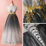 A-line High Neck Ombre Prom Dress Beautiful Applique Tulle Long Prom Dresses Evening Dress AMY986