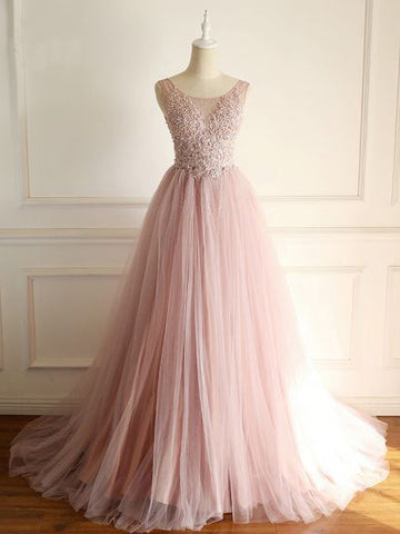 Blush Prom Dress A-line Beads Cheap Tulle Prom Dresses Long Elegant Evening Dress AMY987