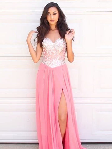 Prom Dress Peach A-line Sweetheart Beads Chiffon Prom Dresses Long Elegant Evening Dress AMY988