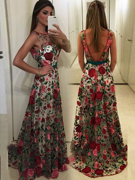 8e6bd1928d2 2018 Prom Dress A-line Scoop Floral Sleeveless Elegant Long Prom Dresses Evening  Dress