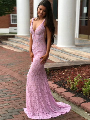Chic Mermaid Prom Dress V neck Lace Beading Sleeveless Cheap Long Prom Dresses/Evening Dress AMY991