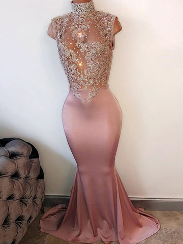 Trumpet/Mermaid Prom Dress High Neck Elastic Woven Satin Beading Long Prom Dresses/Evening Dress AMY997