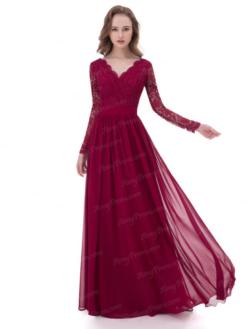 Chic Burgundy Prom Dress A-line V-neck Chiffon Long Prom Dress Evening Dress AX001