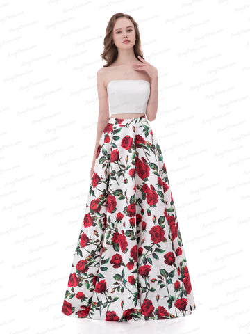 Chic Two Pieces Prom Dress A-line Print Rose Long Prom Dress Evening Dress AX004