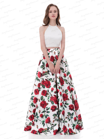 Chic Two Pieces Prom Dress A-line Halter Print Rose Prom Dress Evening Dress AX005